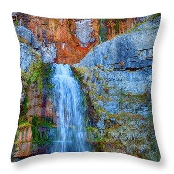 Throw Pillow featuring the photograph Stewart Falls by David Millenheft