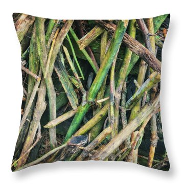Stick Pile At Retzer Nature Center Throw Pillow by Jennifer Rondinelli Reilly - Fine Art Photography