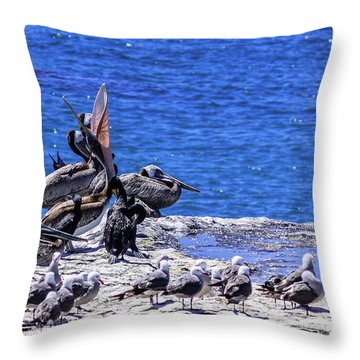 Pelican Sticking His Neck Out Throw Pillow