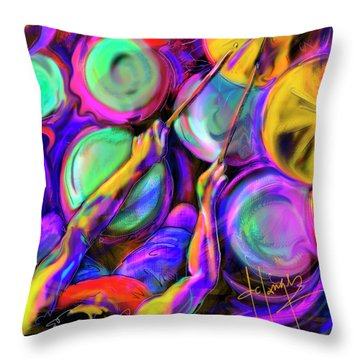 Throw Pillow featuring the painting Sticks And Skins by DC Langer