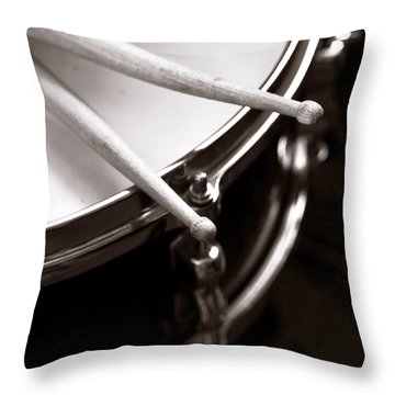 Sticks On Snare Drum Throw Pillow by Rebecca Brittain