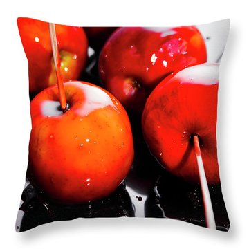 Sticky Red Toffee Apple Childhood Treat Throw Pillow