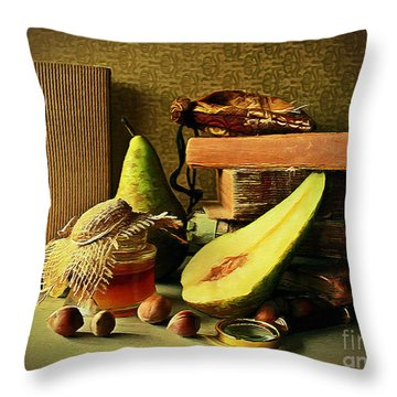 Still Life With Pears II Throw Pillow