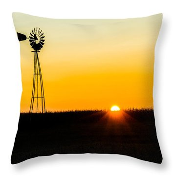 Still Country Sunset Silhouette Throw Pillow by Chris Bordeleau