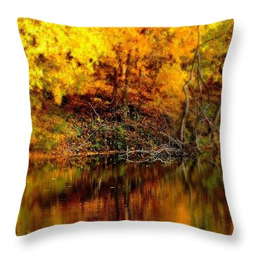 Still Gold Throw Pillow