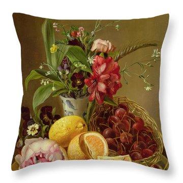 Still Life Throw Pillow by Albertus Steenberghen