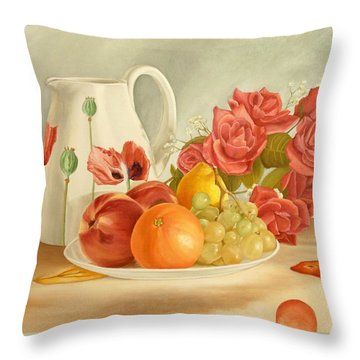 Throw Pillow featuring the painting Still Life by Angeles M Pomata