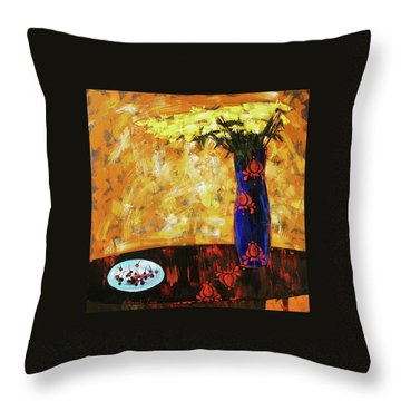 Throw Pillow featuring the painting Still Life. Cherries For The Queen by Anastasija Kraineva