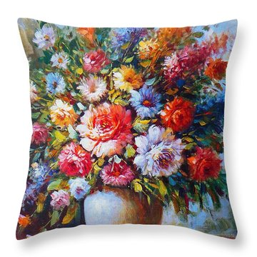 Still Life Colourful Flowers In Bloom Throw Pillow
