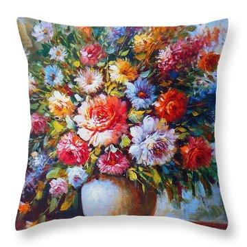 Still Life Flowers Throw Pillow