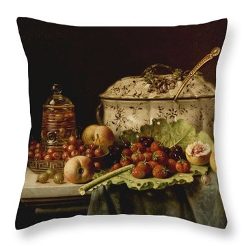 Still Life  Fruit And Dishes  Late 19th Century Oil On Panel Gottfried Schultz  German  1842  1919 Throw Pillow