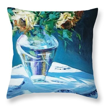 Still Life In Glass Vase Throw Pillow