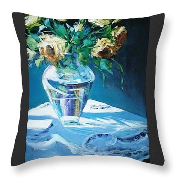 Still Life In Glass Vase Throw Pillow