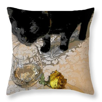 Still Life Interrupted #2 Throw Pillow by Rhonda McDougall