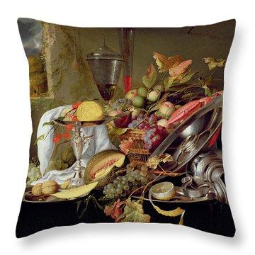Still Life Throw Pillow by Jan Davidsz Heem