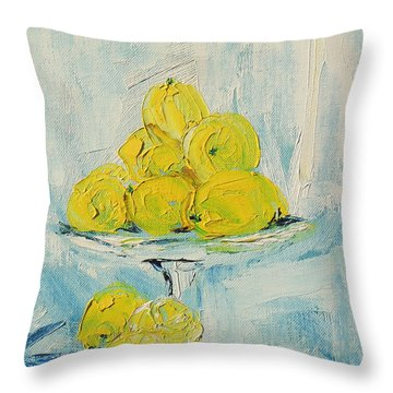 Still Life - Lemons Throw Pillow by Shirley Heyn