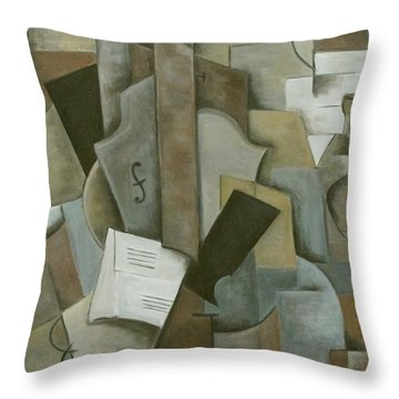 Still Life Music And Bottle Throw Pillow by Trish Toro