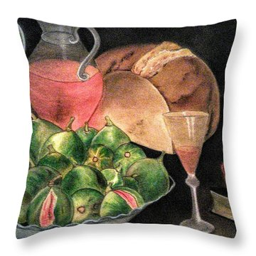 Still Life Of Figs, Wine, Bread And Books Throw Pillow