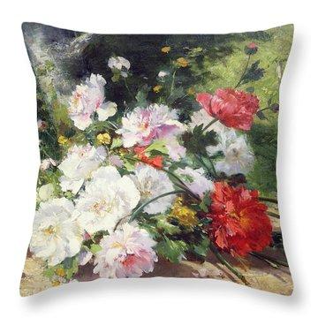 Still Life Of Flowers Throw Pillow by Eugene Henri Cauchois