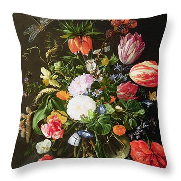Still Life Of Flowers Throw Pillow by Jan Davidsz de Heem