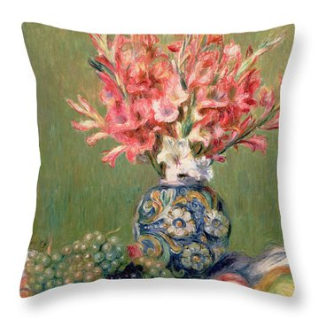 Still Life Of Fruits And Flowers Throw Pillow by Pierre Auguste Renoir