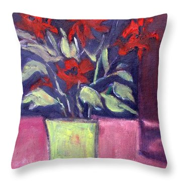Still Life Of Red Flowers In Yellow Jug Throw Pillow by Betty Pieper