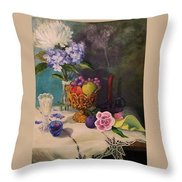 Still Life On Lace Throw Pillow