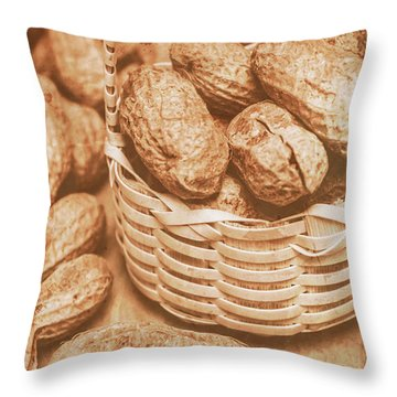 Still Life Peanuts In Small Wicker Basket On Table Throw Pillow
