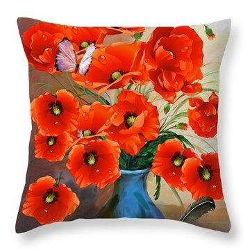 Still Life Poppies Throw Pillow