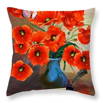 Still Life Poppies Throw Pillow