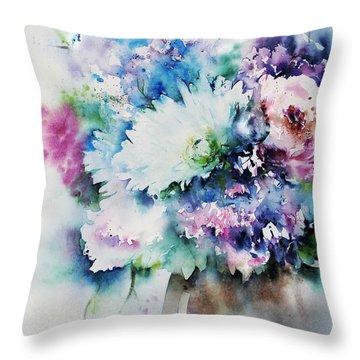 Still Life Rose Bouquet Watercolour Throw Pillow