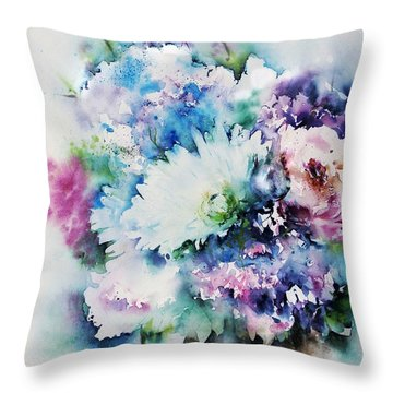 Still Life Rose Bouquet Watercolour Throw Pillow
