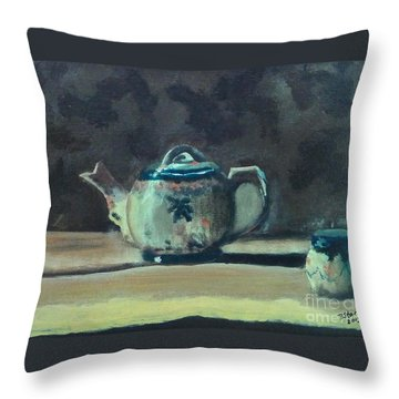 Still Life Teapot And Sugar Bowl Throw Pillow