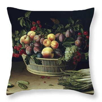 Still Life With A Basket Of Fruit And A Bunch Of Asparagus Throw Pillow by Louise Moillon