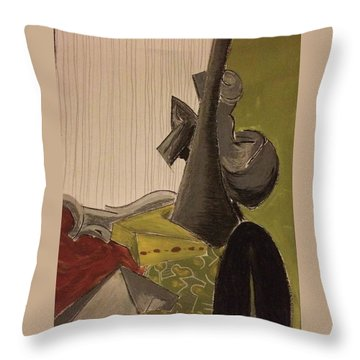 Still Life With A Black Horse- Cubism Throw Pillow by Manuela Constantin
