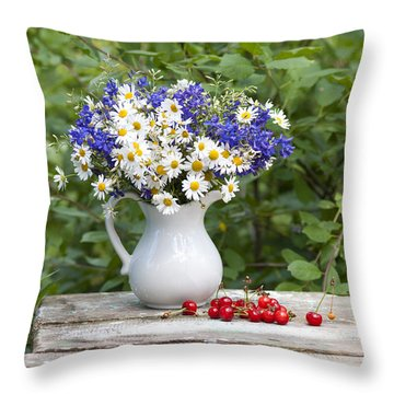 Still-life With A Bouquet Of Wildflowers Throw Pillow