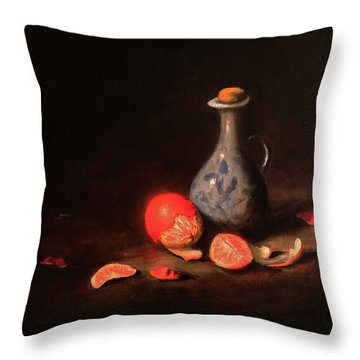Still Life With A Little Dutch Jug Throw Pillow by Barry Williamson