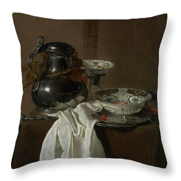 Still Life With A Pewter Flagon And Two Ming Bowls Throw Pillow