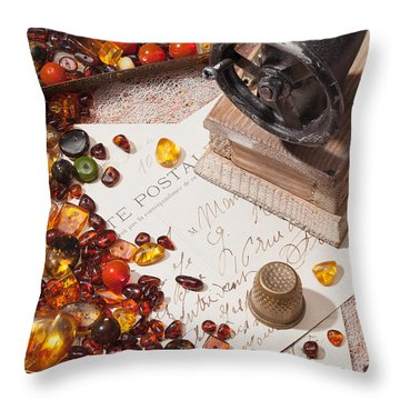 Throw Pillow featuring the photograph Still-life With Amber And Sewing Machines. by Andrey  Godyaykin