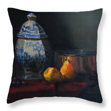 Still Life With Antique Dutch Vase Throw Pillow by Barry Williamson