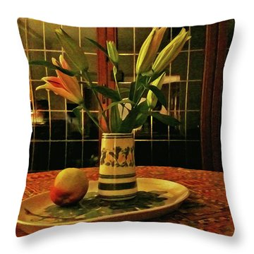 Throw Pillow featuring the photograph Still Life With Apple by Anne Kotan