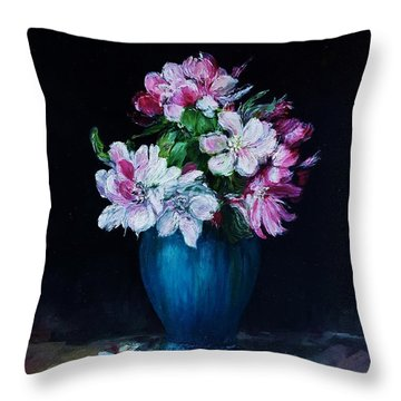 Still Life With Apple Tree Flowers In A Blue Vase Throw Pillow
