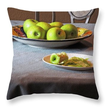 Still Life With Apples And Chair Throw Pillow by Lynda Lehmann