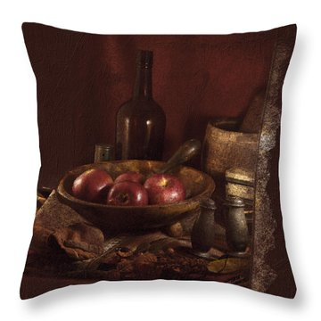 Still Life With Apples, Bottles, Baskets And Shakers. Throw Pillow