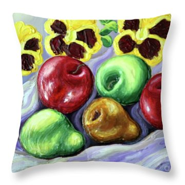 Throw Pillow featuring the painting Still Life With Apples by Inese Poga