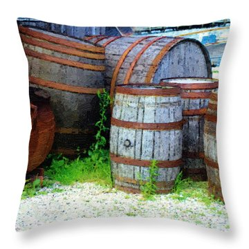 Still Life With Barrels Throw Pillow by RC DeWinter