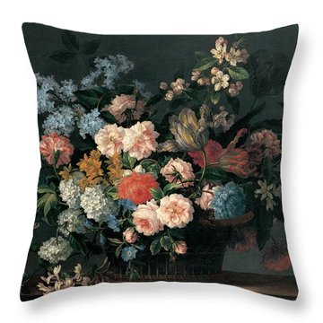 Still Life With Basket Of Flowers Throw Pillow by Jean-Baptiste Monnoyer