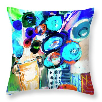 Still Life With Blue Flowers Throw Pillow