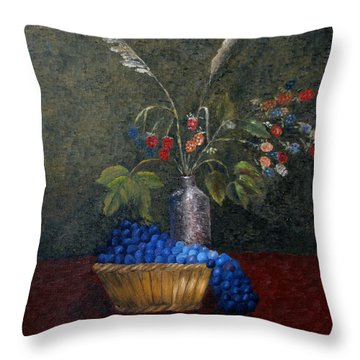Still Life With Blue Fruit Throw Pillow