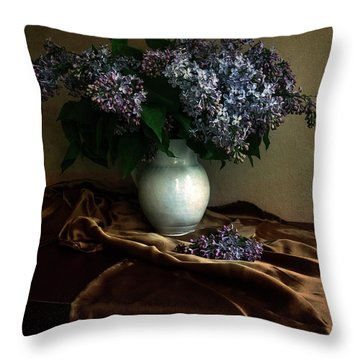 Throw Pillow featuring the photograph Still Life With Bouqet Of Fresh Lilac by Jaroslaw Blaminsky